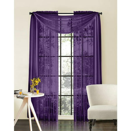 "Qutain Linen Solid Viole Sheer Curtain Window Panel Drapes 55"" x 63 inch - Purple"