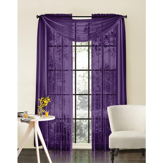 """Qutain Linen Solid Viole Sheer Curtain Window Panel Drapes 55"""" x 95 inch Many Colors"""