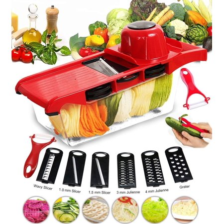 WALFRONT Vegetable Slicer Cutter Mandoline Grater Chopper Slicer, 5 Interchangeable Blades Food Storage Container with Peeler for Potato Tomato Onion Cheese