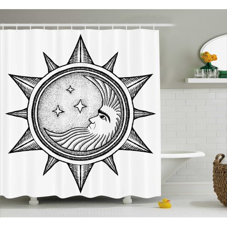 Occult Decor Shower Curtain Moon Inside The Sun With Sta