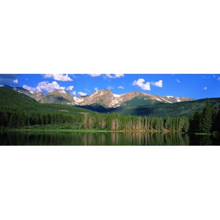 Lake with mountain range in the background Sprague Lake Rocky Mountain National Park Colorado USA Canvas Art - Panoramic Images (27 x 9)
