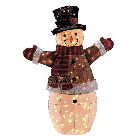Holiday time 48 light up burlap snowman for Snowman made out of burlap