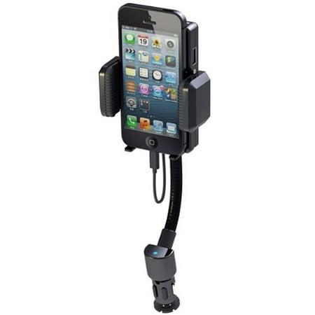 All-in-one Car Mount FM Transmitter Charging Holder Extra USB Port Dock Cradle Gooseneck Rotating 3D for iPhone 5 5C 5S 6 6S 7 SE (Fm Transmitter Car Mount)