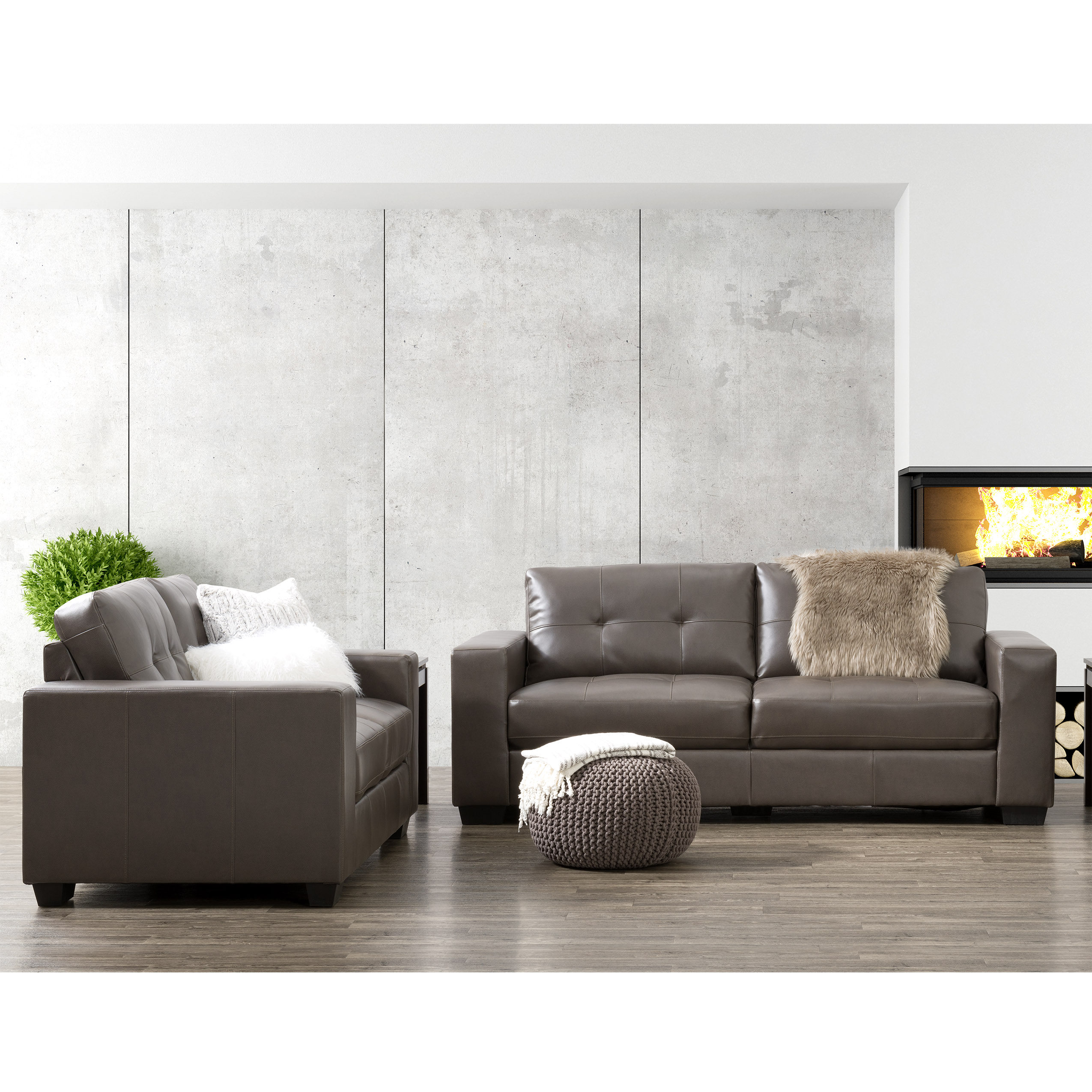 CorLiving 2Pc Tufted Seat and Backrest Bonded Leather Sofa Set