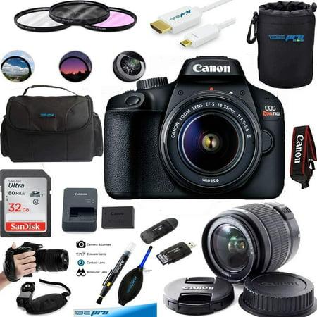 Canon EOS Rebel T100 Digital SLR Camera with 18-55mm Lens Kit + Essential Bundle