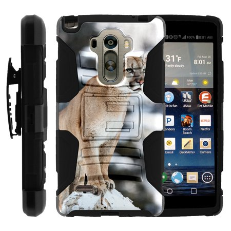 TurtleArmor ®  For LG G Stylo LS770, H631, MS631  LG G4 Stylus  LG Stylus [Hyper Shock] Hybrid Dual Layer Armor Holster Belt Clip Case Kickstand - Mountain Cougar