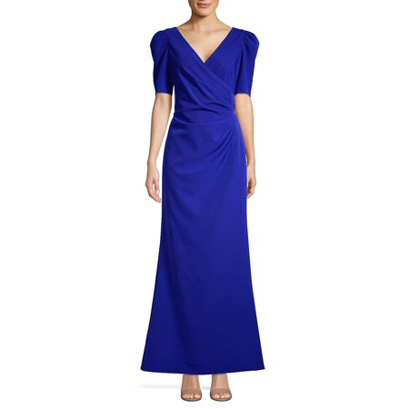 Pleated Faux Wrap Gown