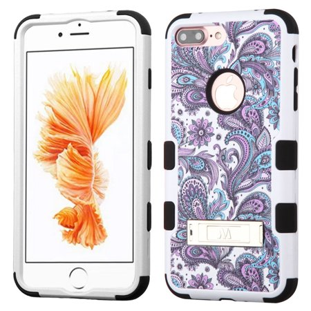 Insten Purple European Flowers/Black TUFF Hybrid Dual Layer Stand Case Cover for Apple iPhone 7 Plus - image 6 de 6