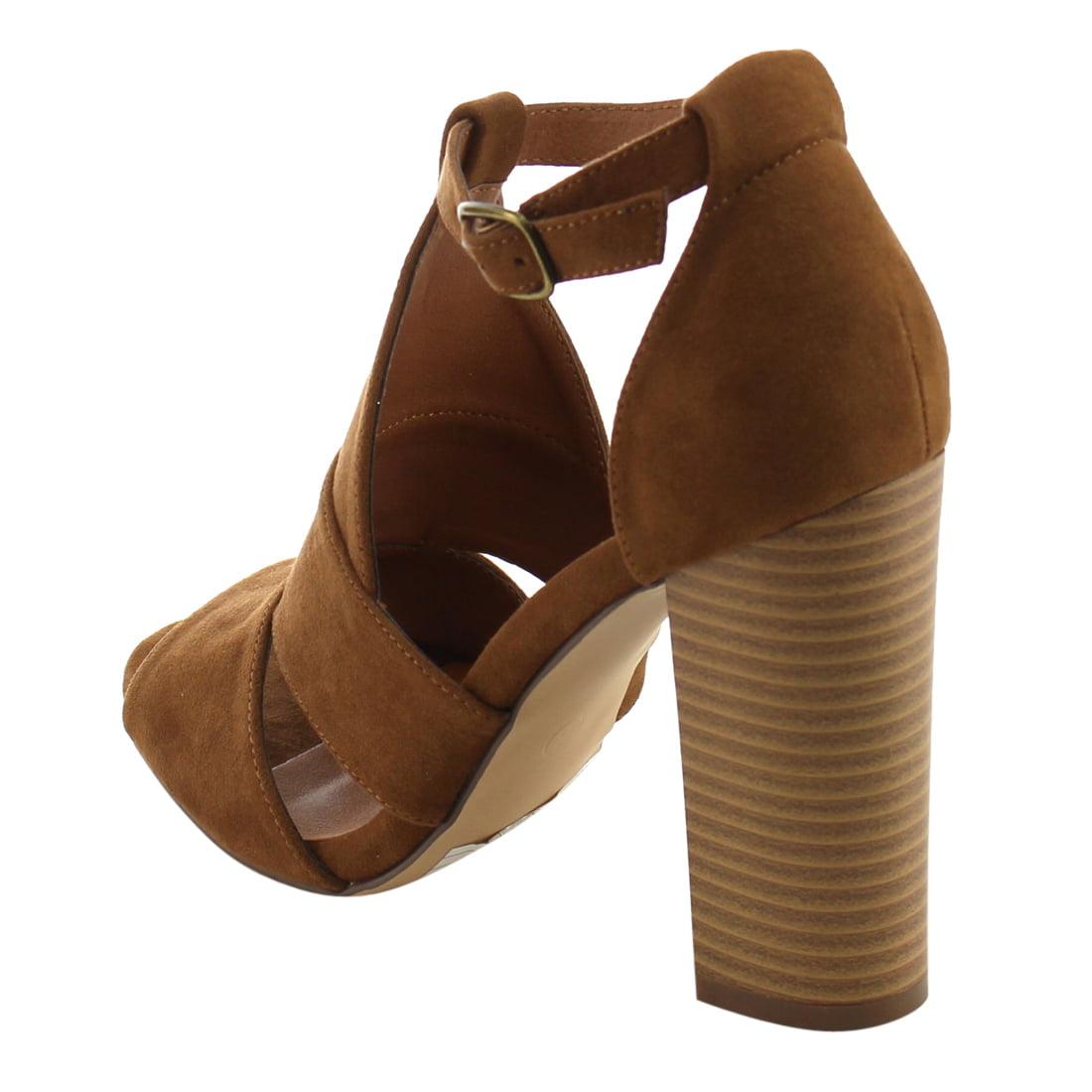 0b5212db20e5 BONNIBEL FI42 Women s Peep Toe Chunky Stacked Heel Ankle Strap Dress Sandals  - Walmart.com