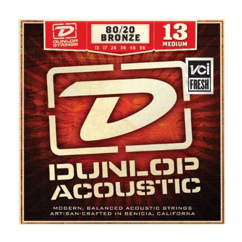 Dunlop DAB1356 80 20 Medium Acoustic 6 String Guitar Set, 013-.056 by Dunlop