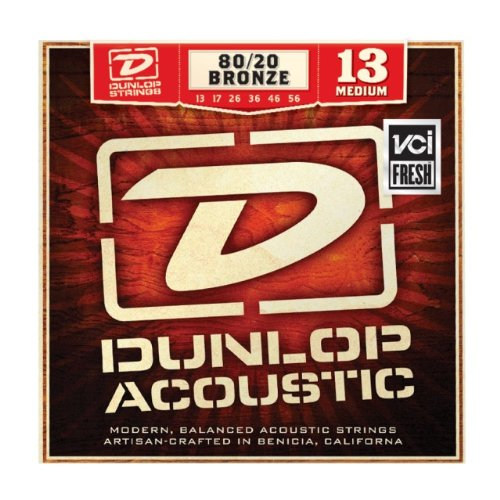 Dunlop - DAB1356 - 80/20 Medium Acoustic - 6 String Guitar Set, 013-.056