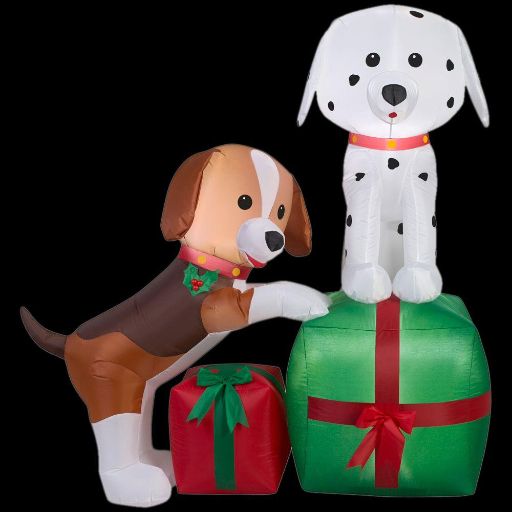 Christmas Inflatable Puppies With Presents Airn Holiday Decoration By Gemmy