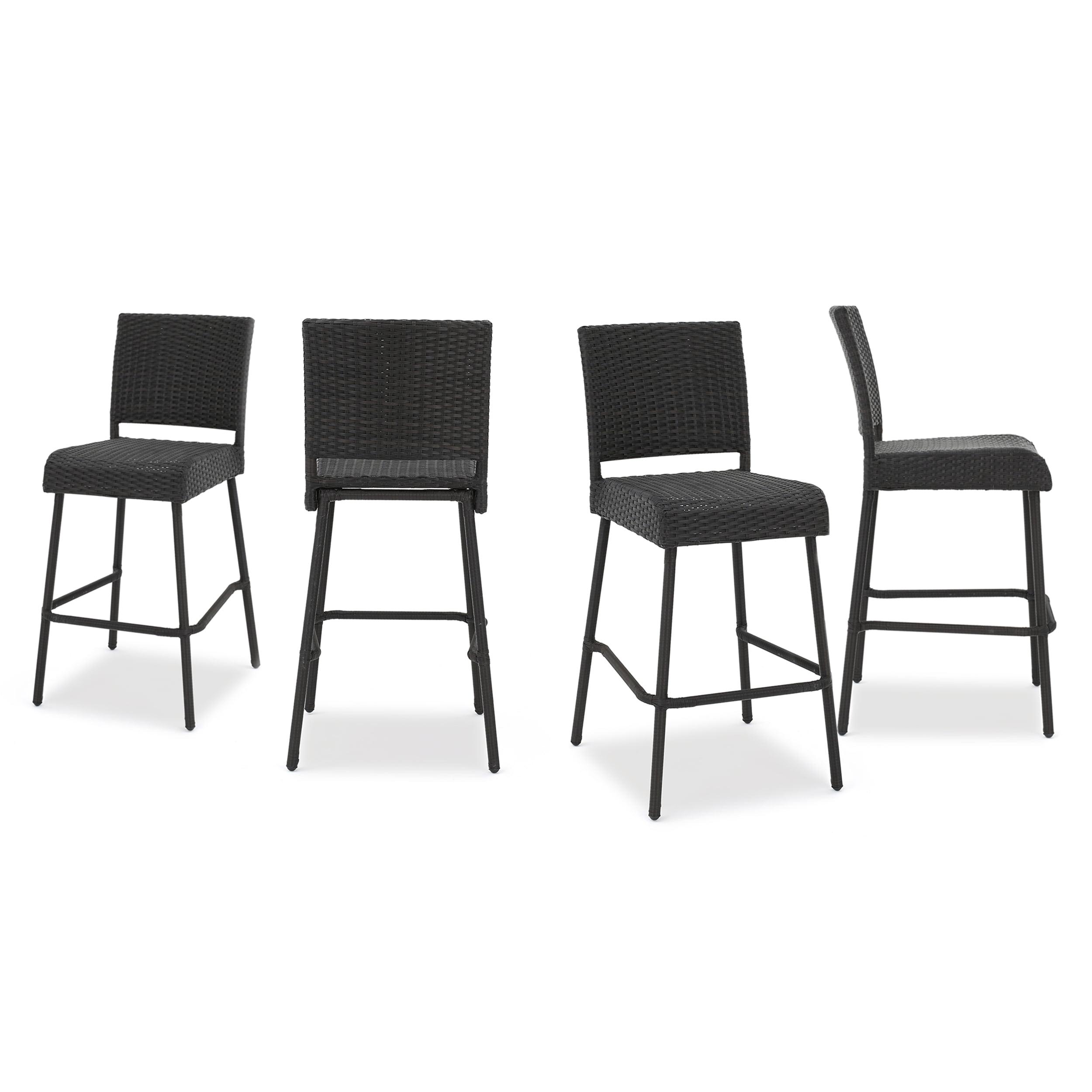 Oscana Outdoor Wicker Barstools, Set of 4, Dark Brown