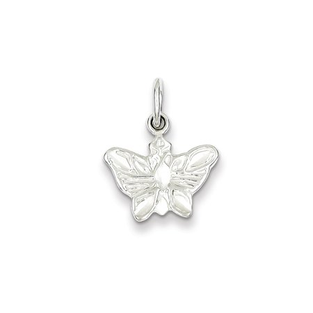 Solid Sterling Silver Polished Butterfly Charm