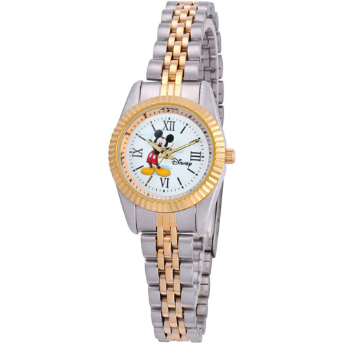 Disney Mickey Mouse Women's Alloy Case Watch, Two-Tone Stainless Steel Bracelet
