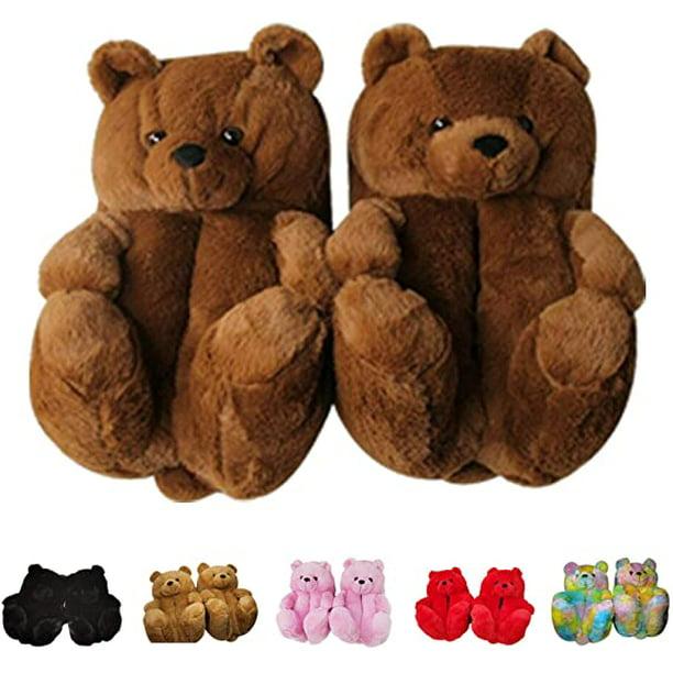 Winter Women Slippers Cute Bear Warm Soft Plush Antiskid Indoor Home Shoes 6N