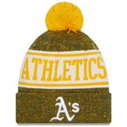 Oakland Athletics New Era Banner Cuffed Knit Hat with Pom - Gold/Green - OSFA