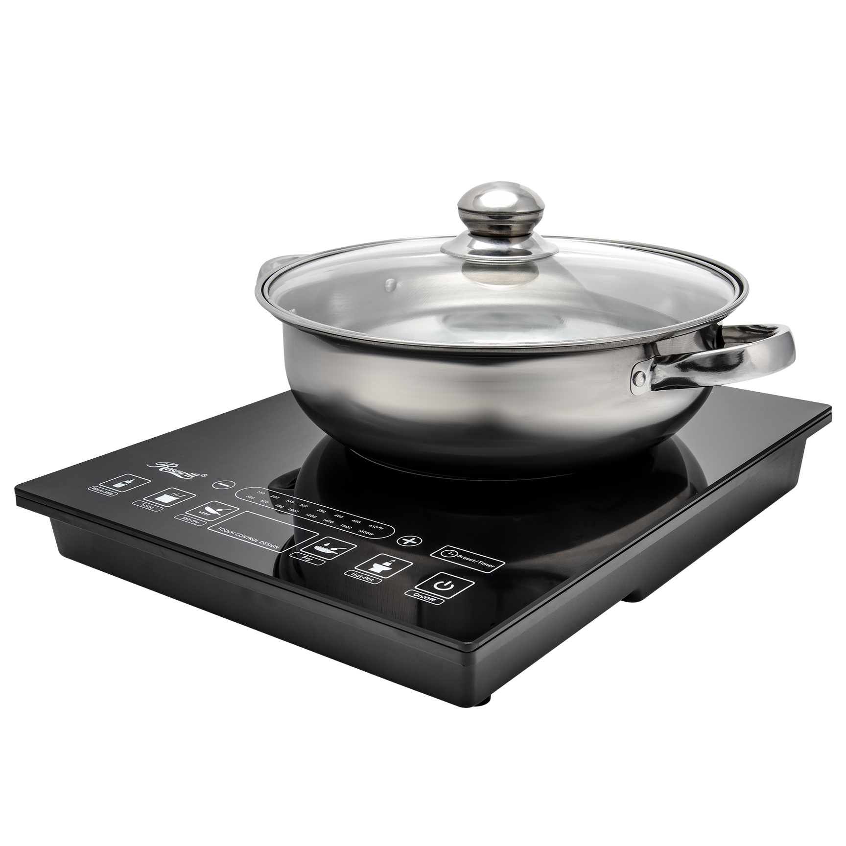 Rosewill Portable Induction Cooker Electric Hot Plate Includes 3.5Qt Stainless Steel Pot 1800 Watts RHAI-15001