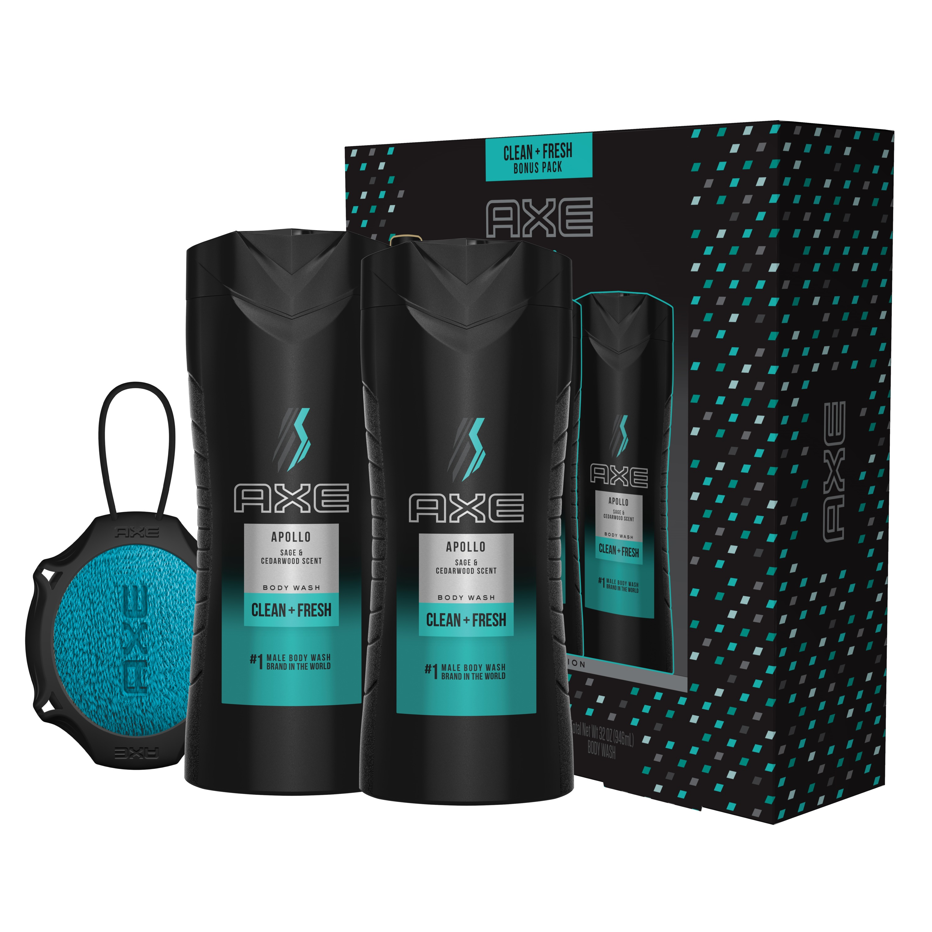 AXE 4-Pc Apollo Regimen Gift Set for Men with BONUS Trial Deo Body Spray (2 x Body Wash, Detailer)