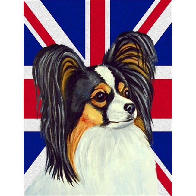 Carolines Treasures LH9503CHF Papillon With English Union Jack British Flag Flag Canvas House Size - image 1 of 1