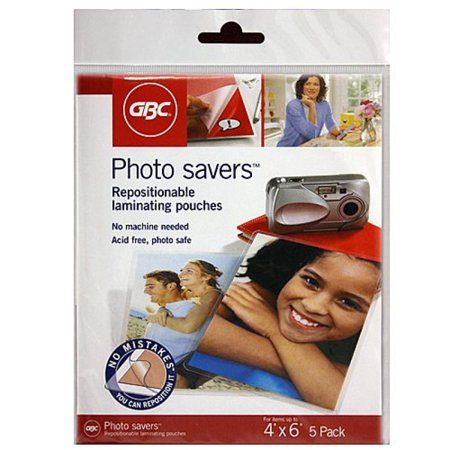 Gbc Photo (GBC Photo Savers Repositionable Laminating Pouches, 4 x 6 Inches, Clear Gloss, 5 Pouches per Pack)