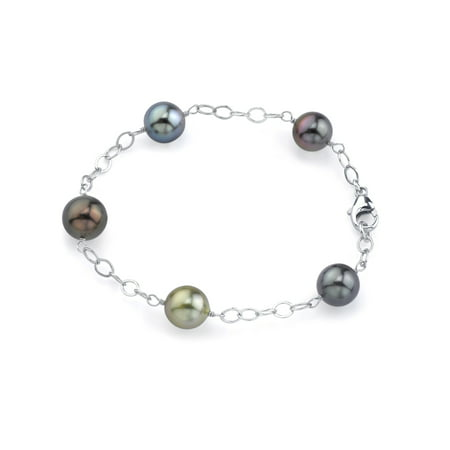 14K Gold 9-10mm Tahitian Multicolor Cultured Pearl Tincup Bracelet - AAAA Quality