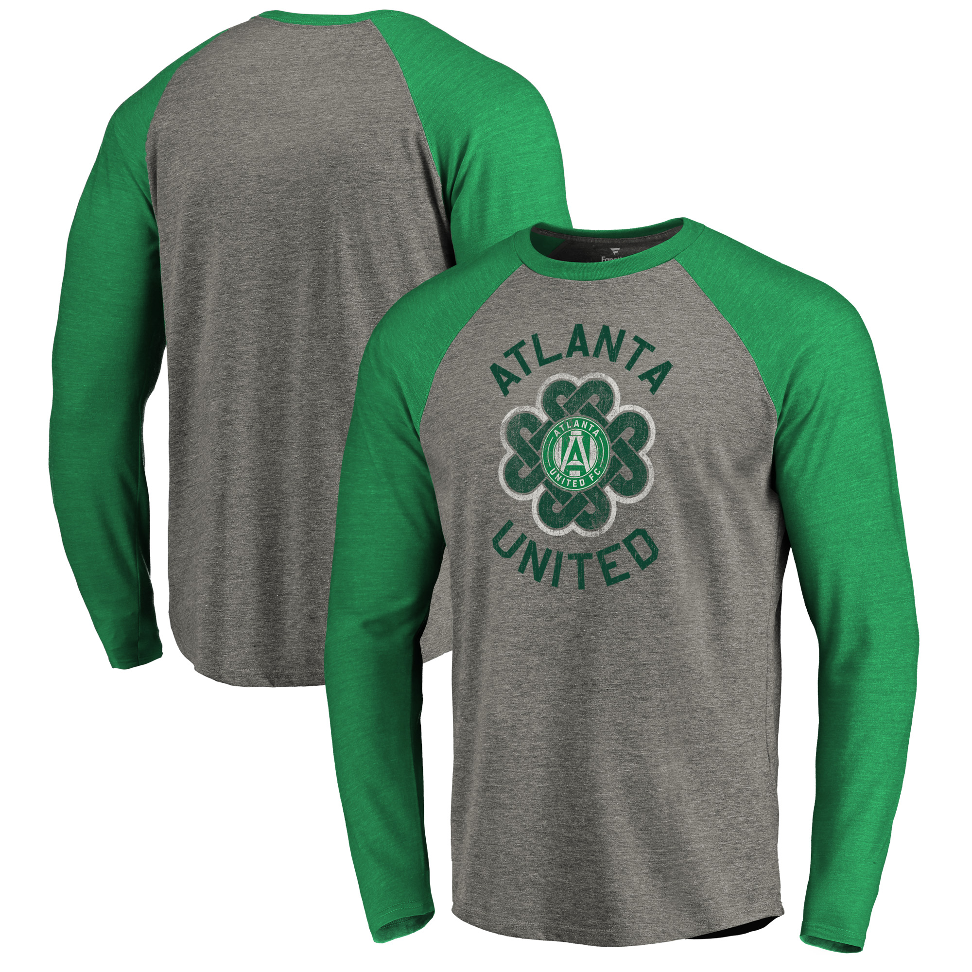 Atlanta United FC Fanatics Branded St. Patrick's Day Luck Tradition Raglan Tri-Blend Long Sleeve T-Shirt - Heathered Gray