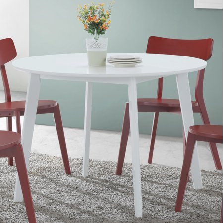 Roundhill Roma Contemporary White Round Dining Table