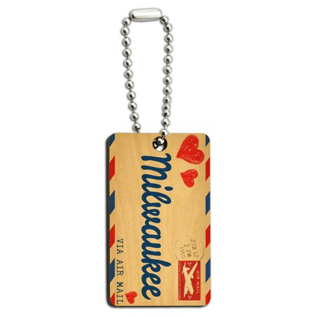Air Mail Postcard Love for Milwaukee Wood Rectangle Key Chain