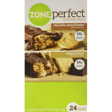 ZonePerfect Nutrition Bars, Fudge Graham/Chocolate Peanut Butter - 1.76oz, 24 (Advantage Peanut Fudge Granola Bar)