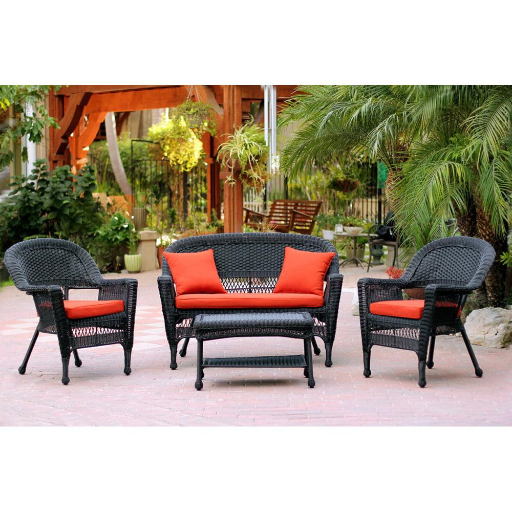 Jeco 4pc Black Wicker Conversation Set - Red Orange Cushions