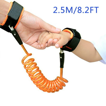 Anti Lost Wristband Wrist Link Kids Leash Child Safety Wristband Toddler Harness Leash with Lock (Orange)