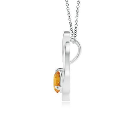Festive Orange Sapphire Pendant  Charm 5mm Round Set In 14K Solid Gold...