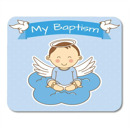KDAGR Blue Baby Angel Wings on Cloud Boy Baptism Christening Anniversary Mousepad Mouse Pad Mouse Mat 9x10 inch](Baby On Cloud)