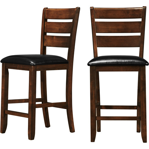 Amelia Ladder Back Counter Height Stools - Set of 2, Dark Oak