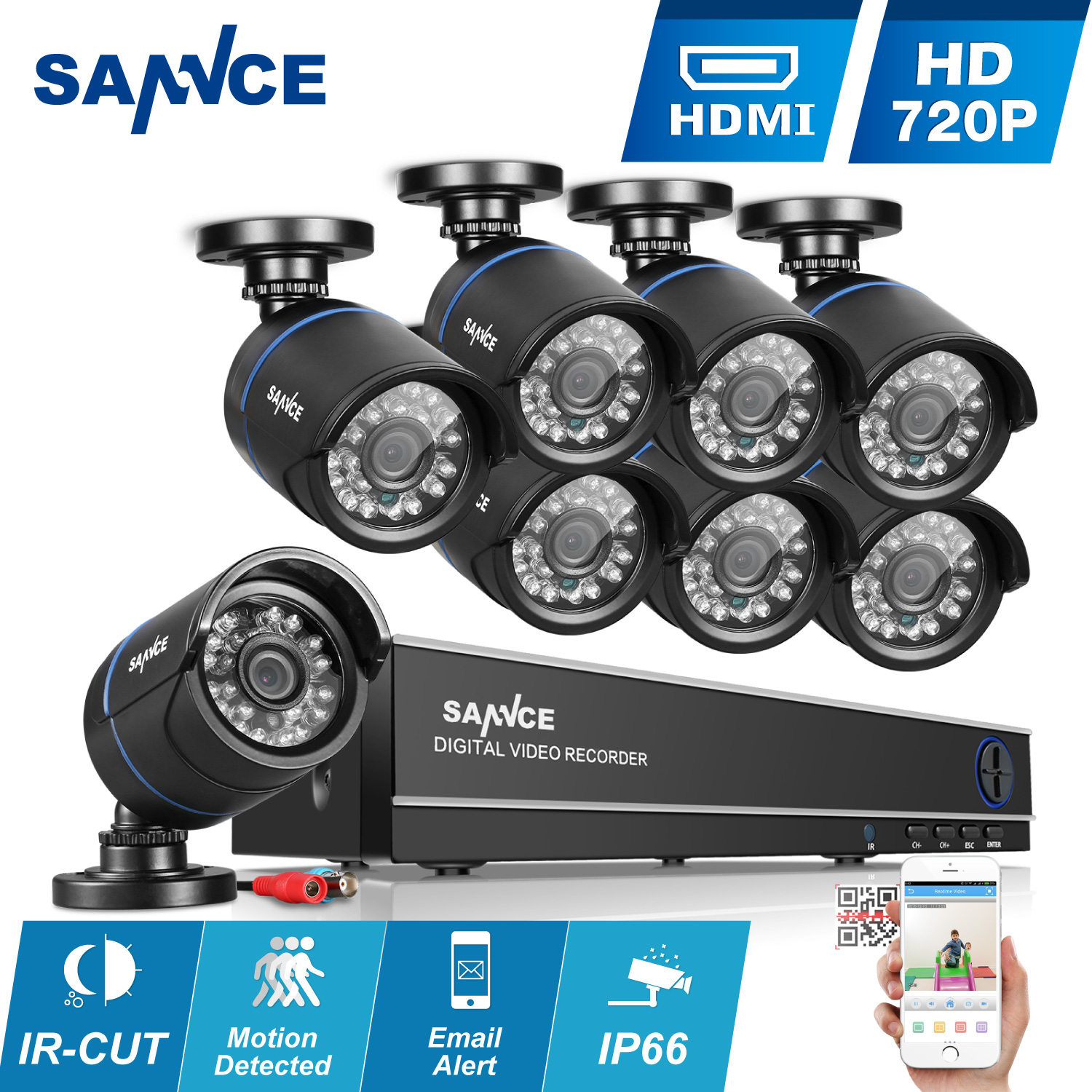 SANNCE 8CH 1080N AHD DVR 8pcs 720P IR outdoor CCTV Home Security System Cameras Surveillance Video kits-No Hard Drive Disk