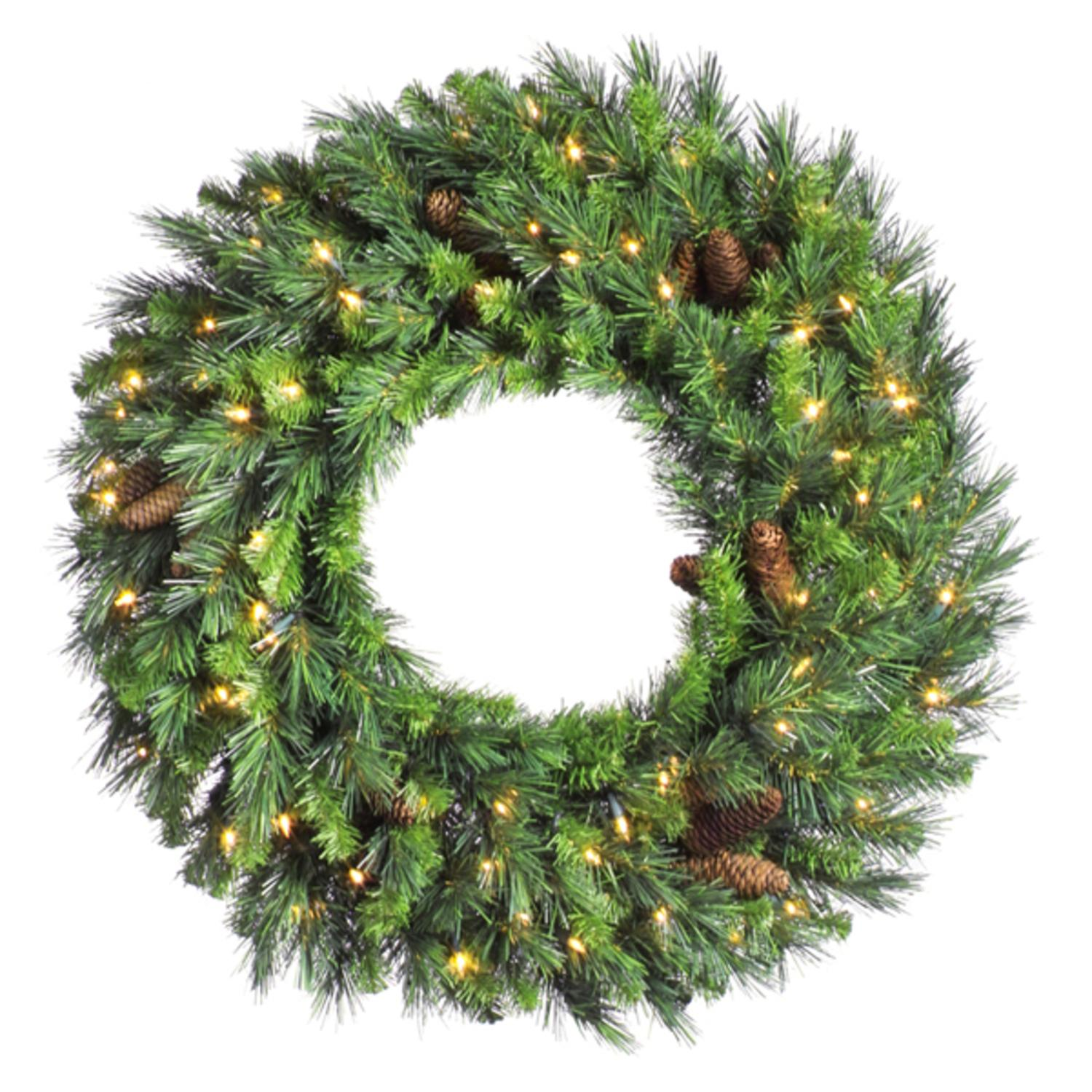 "24"" Pre-Lit Cheyenne Pine Artificial Christmas Wreath - Clear Dura Lights"
