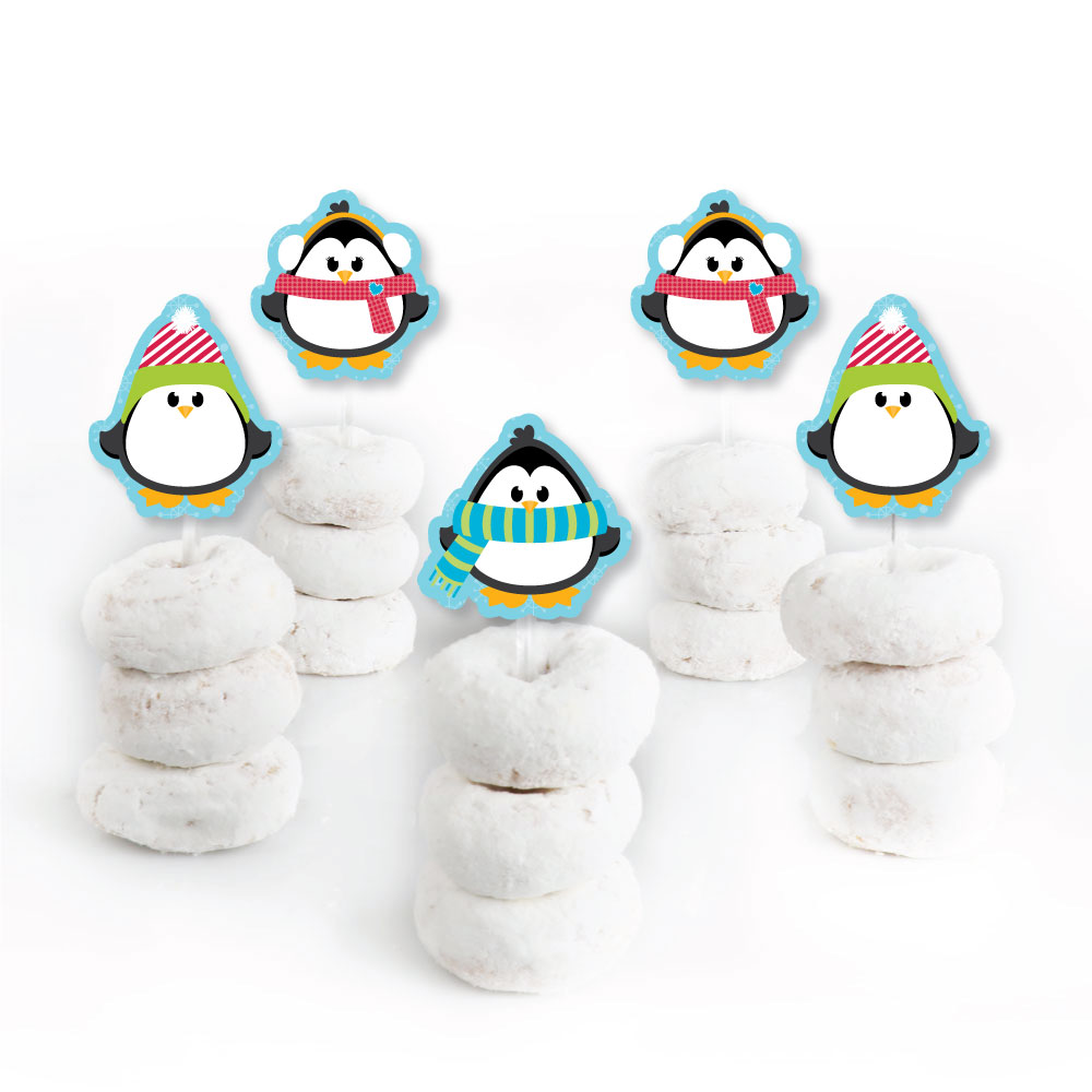 Holly Jolly Penguin Dessert Cupcake Toppers Holiday /& Christmas Party Clear Treat Picks Set of 24