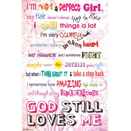 Im Not a Perfect Girl Text Religious Art Poster 22x34