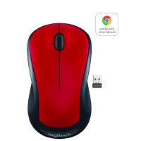 Logitech Full Size Wireless Mouse - Red