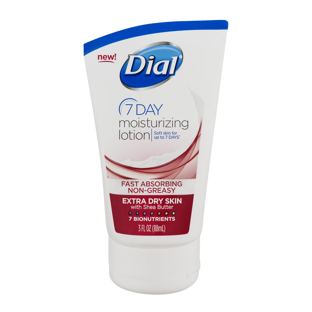 Dial 7 Day Moisturizing Lotion Extra Dry Skin with Shea Butter, 3.0 FL OZ