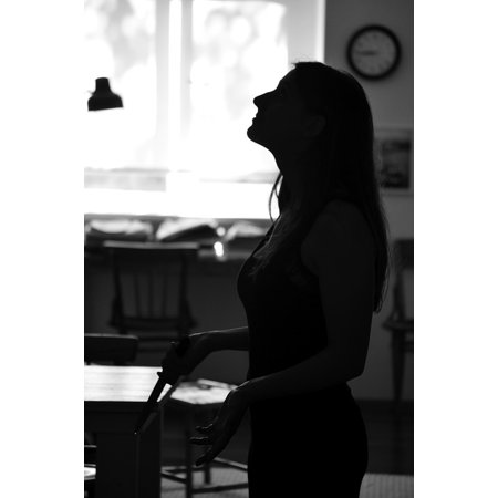 Canvas Print Girl Young Photo Standing Woman Dark Silhouette Stretched Canvas 10 x 14