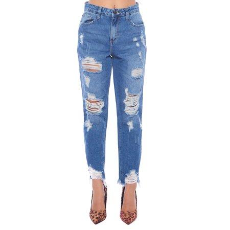 Womens Distressed Hem Boyfriend Loose Jeans Pants WV75762S