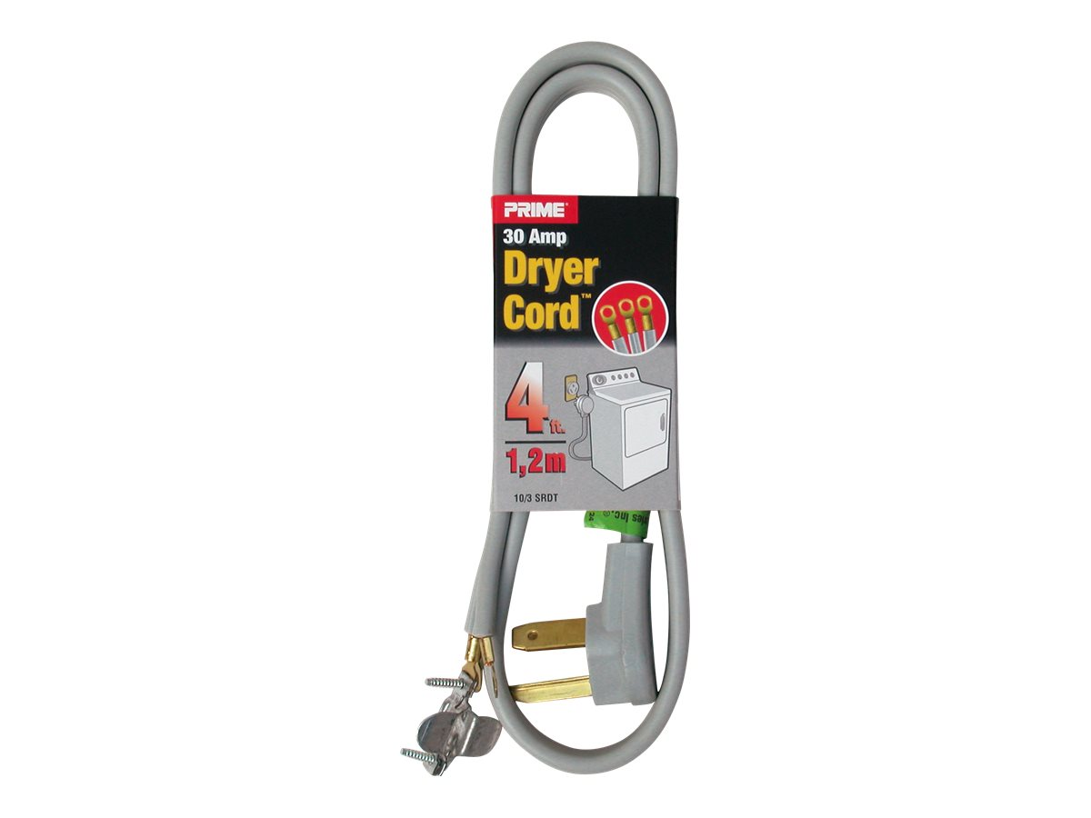 Prime 3-Pole 3-Wire SRDT 30A 125/250-Volt Dryer Cord, Gray, 4' - Walmart.com