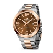 Mens Stainless Steel Case Canteen Bracelet Brown Dial Two-tone Watch - CB151