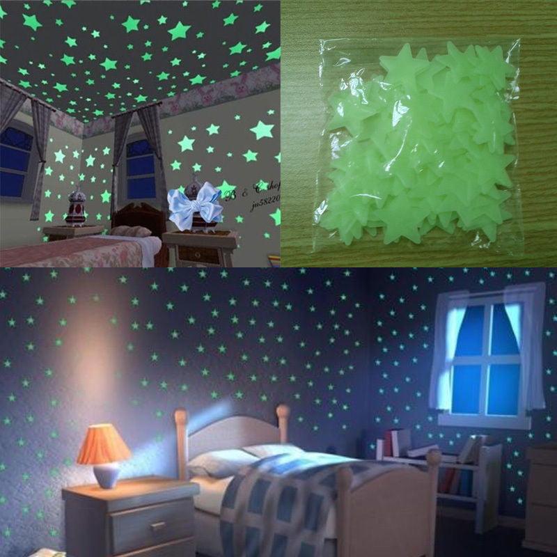 50pcs 3D Stars Moon Stickers Bedroom Home Wall Room Decor DIY Glow In The Dark