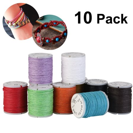 WINOMO 10pcs 10M 1MM Waxed Cotton Cords Strings Ropes for DIY Necklace Bracelet Craft Making (Mixed (Cotton Wax Cord)