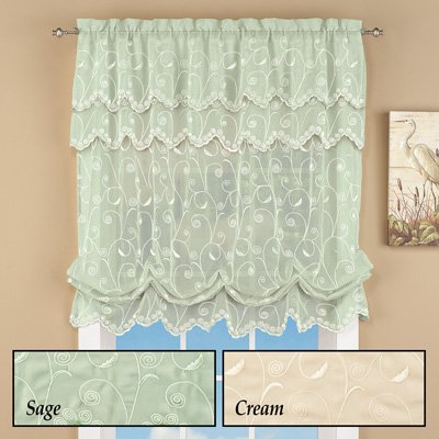 Sheer Balloon Curtain Shade with Scroll Pattern & Rod Pocket Top, Sage, 54