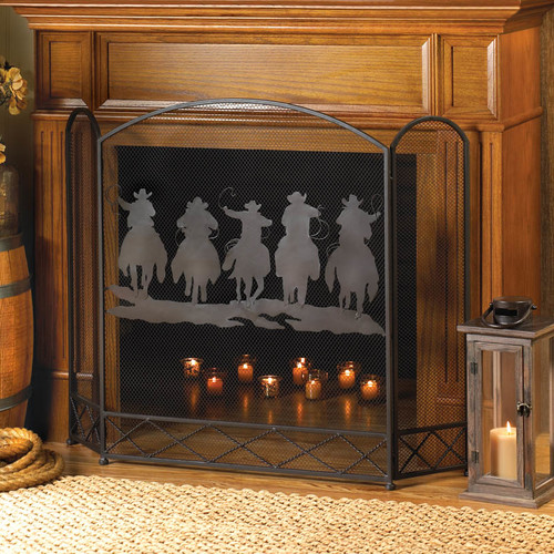 Home Locomotion Western Cowboys Fireplace Screen by Home Locomotion