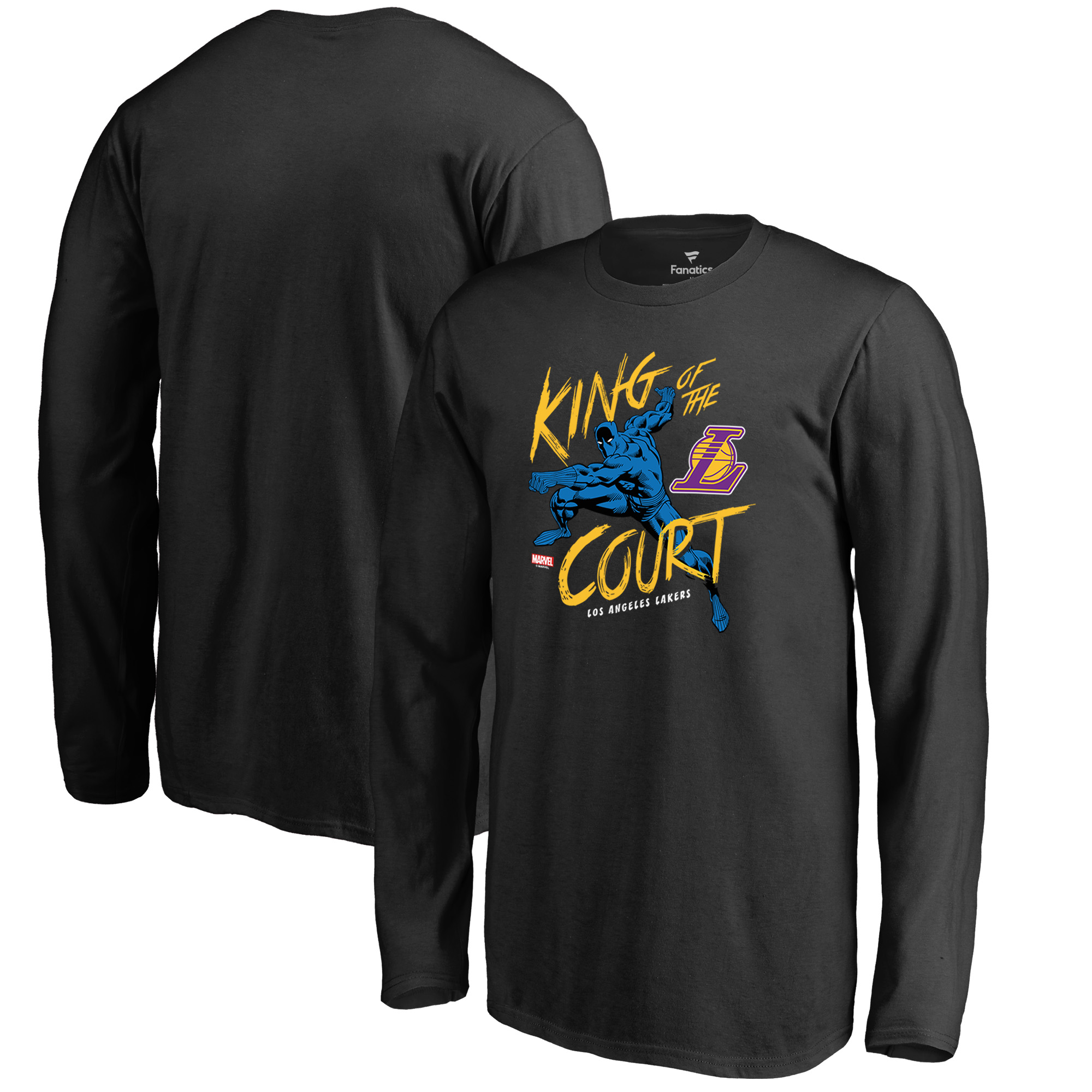 Los Angeles Lakers Fanatics Branded Youth Marvel Black Panther King of the Court Long Sleeve T-Shirt - Black